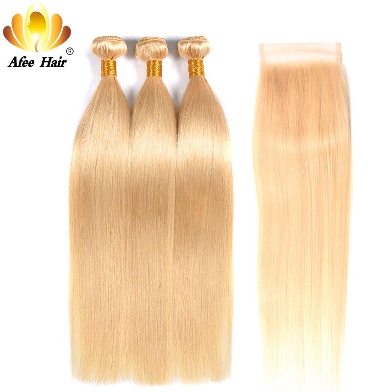 Aliafee 613 Hair Bundles Brazilian Straight Blonde Bundles with Closure Remy Hair Weave Blonde Hair 100
