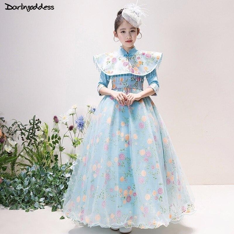 Luxury Long Sleeve   Flower     Girl     Dresses   for Weddings Light Blue Princess First Communion   Dresses   for   Girls   Kids Pageant Gowns