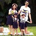 Família Roupas Combinando Olhar Família Mãe e Filha Vestido de Verão Curto-de mangas compridas T-shirt de Algodão Filhos Pai Roupas Combinando Terno