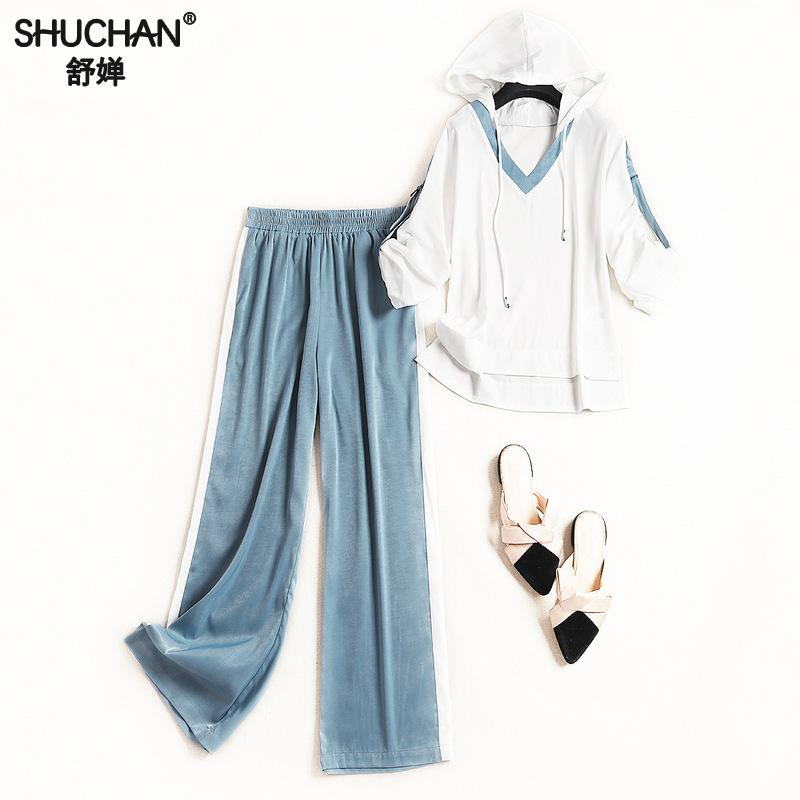 Shuchan Casual New 2019 Women 39 s Tracksuits Tops With Hooded Full Length Wide Legging Pants With Stripes On The Sides 9034 in Women 39 s Sets from Women 39 s Clothing