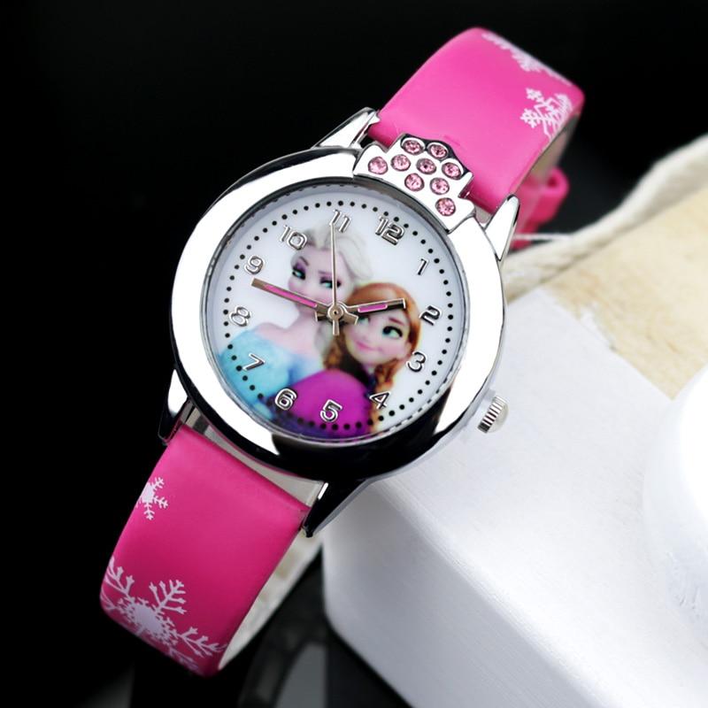 JOYROX Hot Princess Elsa Pattern Children Watch Fashion Crystal Cartoon Leather Strap Quartz Wristwatch Casual Girls Kids Clock