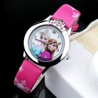 Joyrox quente princesa elsa padrão crianças relógio moda cristal dos desenhos animados pulseira de couro quartzo relógio de pulso casual meninas crianças|kids clock|kids fashion|kids girl -