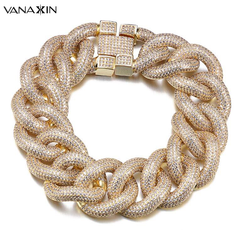 VANAXIN Punk Micro Pave CZ Stone Bracelet Men Gold/Silver Color Cubic Zirconia Shiny 9'' Bracelets Hiphop Jewelry Handsome Gift new zircon bracelets men jewelry cubic micro pave cz crown charm
