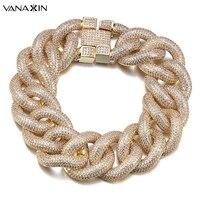 VANAXIN Punk Micro Pave CZ Stone Bracelet Men Gold/Silver Color Cubic Zirconia Shiny 9'' Bracelets Hiphop Jewelry Handsome Gift