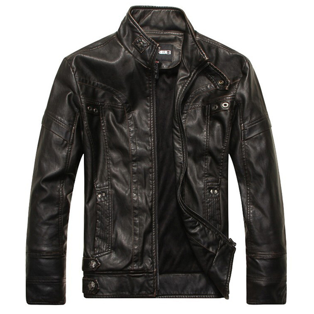 Motorcycle leather jackets men jaqueta de couro masculina Bomber leather jacket Inverno Couro mens Stand Collar jacket