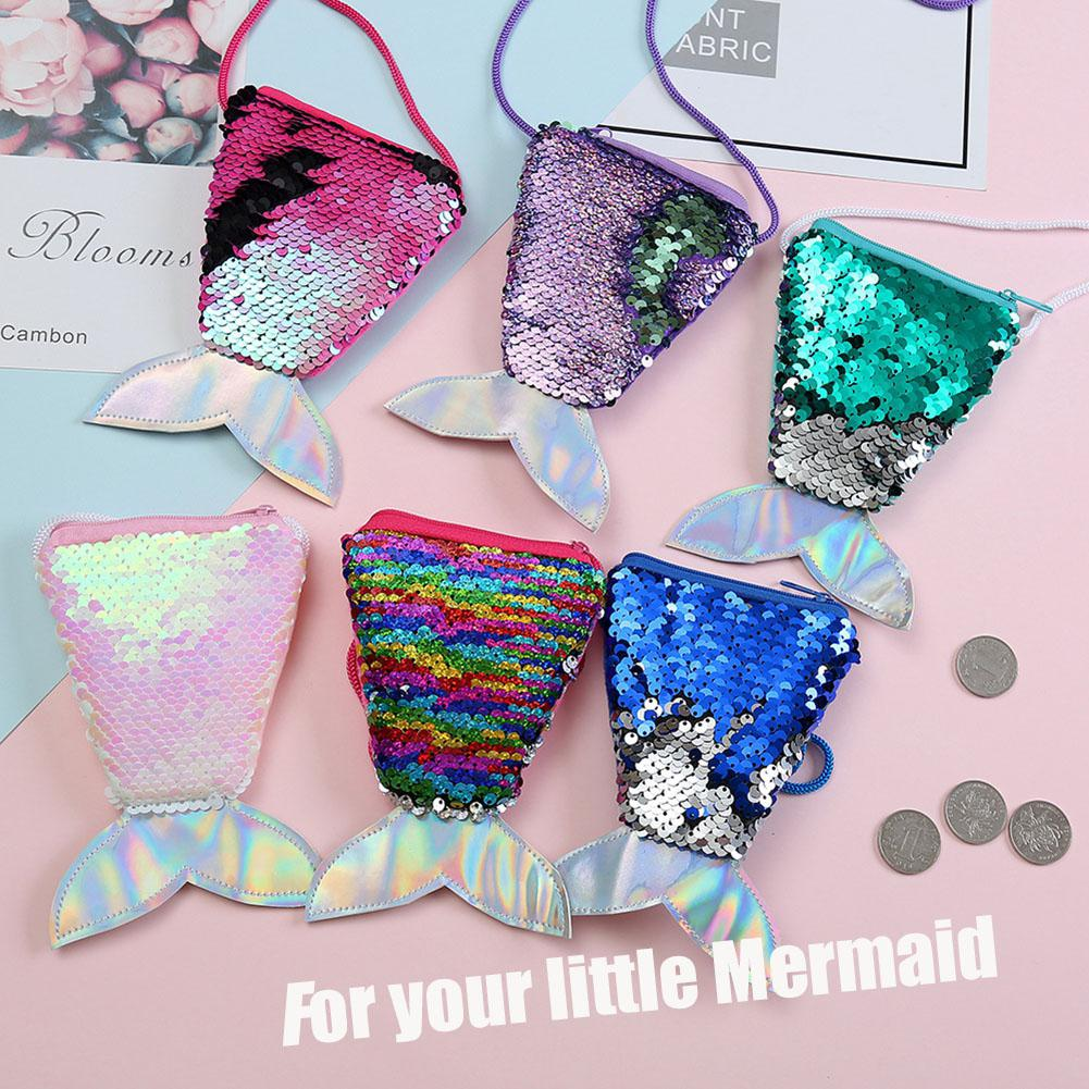 Coin Purse Mermaid Sequins Coin Bag Small Wallet Backpack Keys Pouch Card Holder Earphone Bags On For Women Kids Children