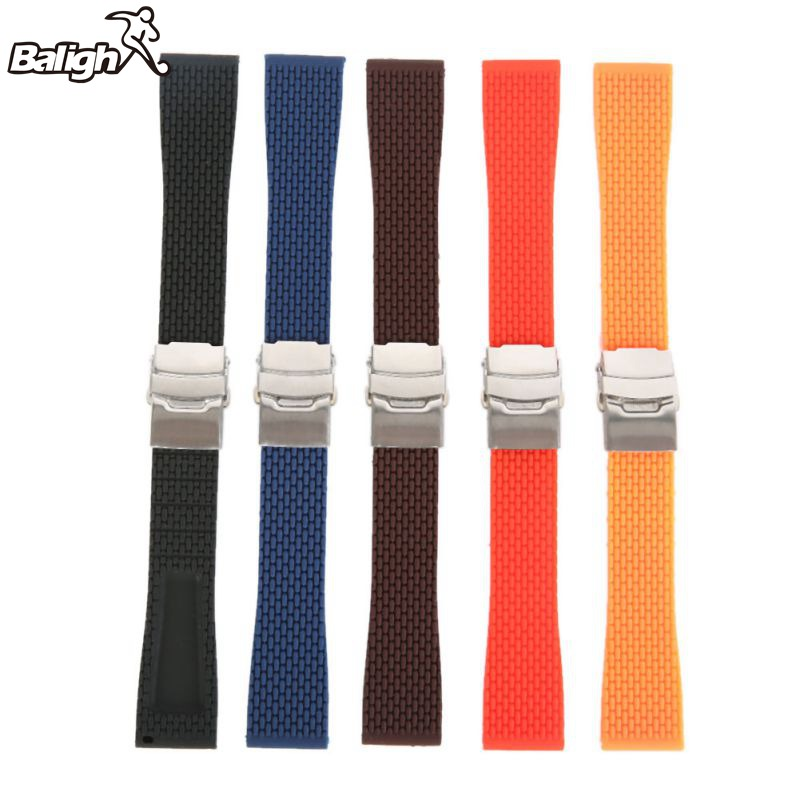 New 18mm, 20mm, 22mm, 24mm New Silicone Rubber Watch Strap Band Deployment Buckle Waterproof BLack Fashion Watchband 5 Colors все цены