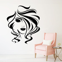 Sexy Girl Silhouette Wall Sticker Beauty Salon Vinyl Wall Decal Woman Hair Stylist Hairdresser Stickers Mural Girls Room Z700(China)