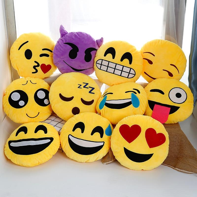 30cm Cute Emoji Pillows QQ Smiley Emotion Soft Decorative Cushions Stuffed Plush Toy Doll Christmas Home Decor Sofa Bed