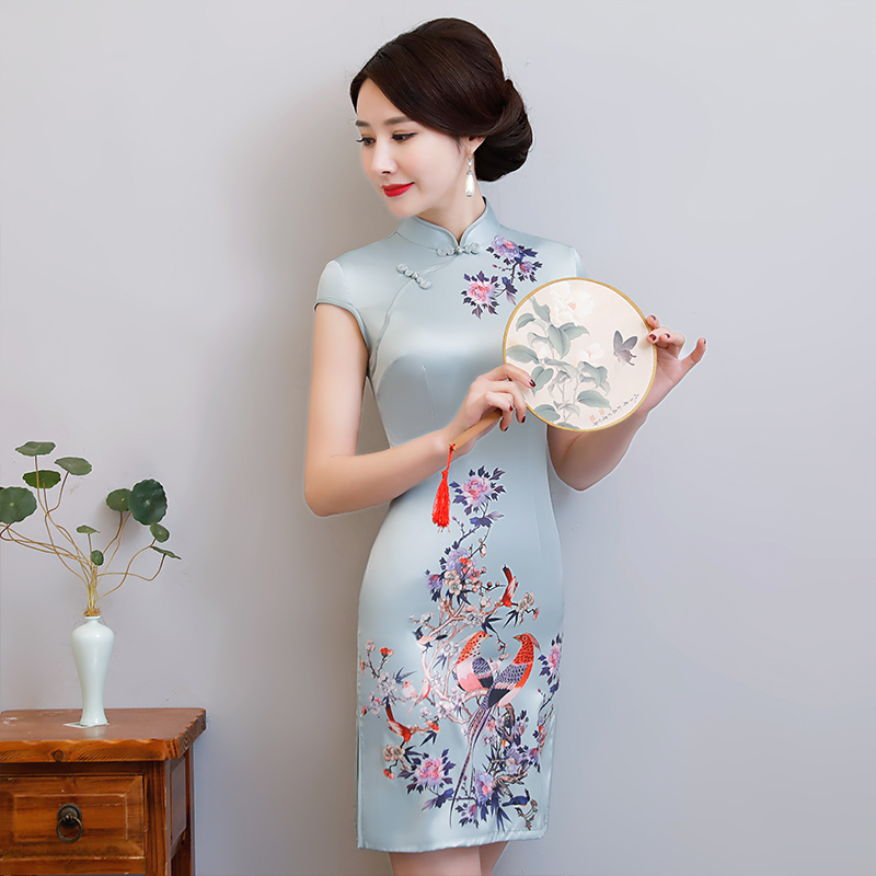 New Arrival Women's Satin Mini Cheongsam Fashion Chinese Style Dress Elegant Slim Qipao Clothing Size S M L XL XXL 368483 2