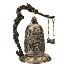 Счастливый Китайский буддистский храм Loong латунь медь резная статуя лотоса будда медный колокольчик с драконом сплав 9*9*12,5 см Китай колокольчик Декор