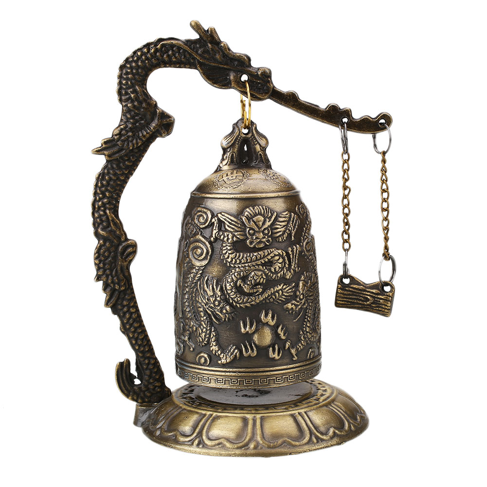 Lucky China Buddhism Temple Loong Brass Copper Carved Statue Lotus Buddha Copper Dragon Bell Alloy 9*9*12.5cm China Bell Decor