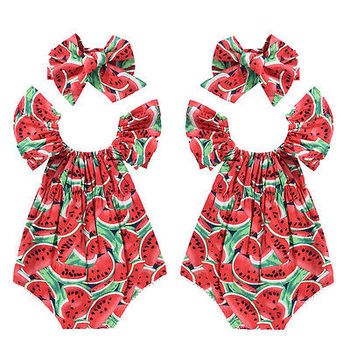 Watermelon Ruffle Cotton Rompers Outfit