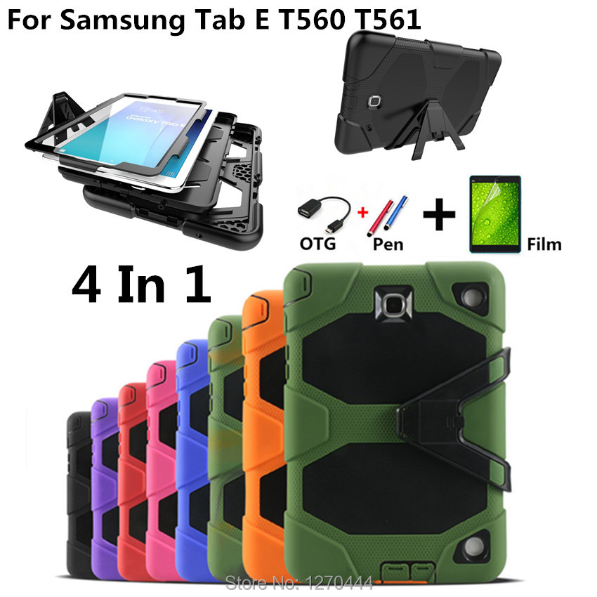 For Samsung Galaxy Tab E 9.6'' T560 T561 Tablet Shockproof Hard case Military Heavy Duty Silicone Rugged Stand Protective Cover protective silicone back case for samsung galaxy s5 i9600 black