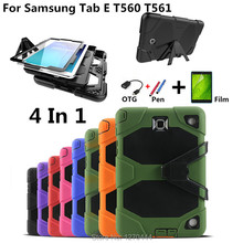 купить New fashion with Waterproof Shockproof case capa para cover for Samsung Galaxy Tab E 9.6 T560 T561 Tablet cover+film+stylus+OTG по цене 920.01 рублей