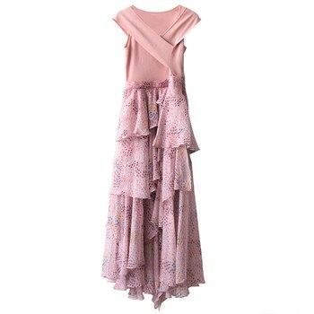 7616b758a Elegante vestido de mujer de verano de 2019 nueva moda rosa sin mangas con  cuello en V Patchwork estampado Floral volantes Irregular vestido largo