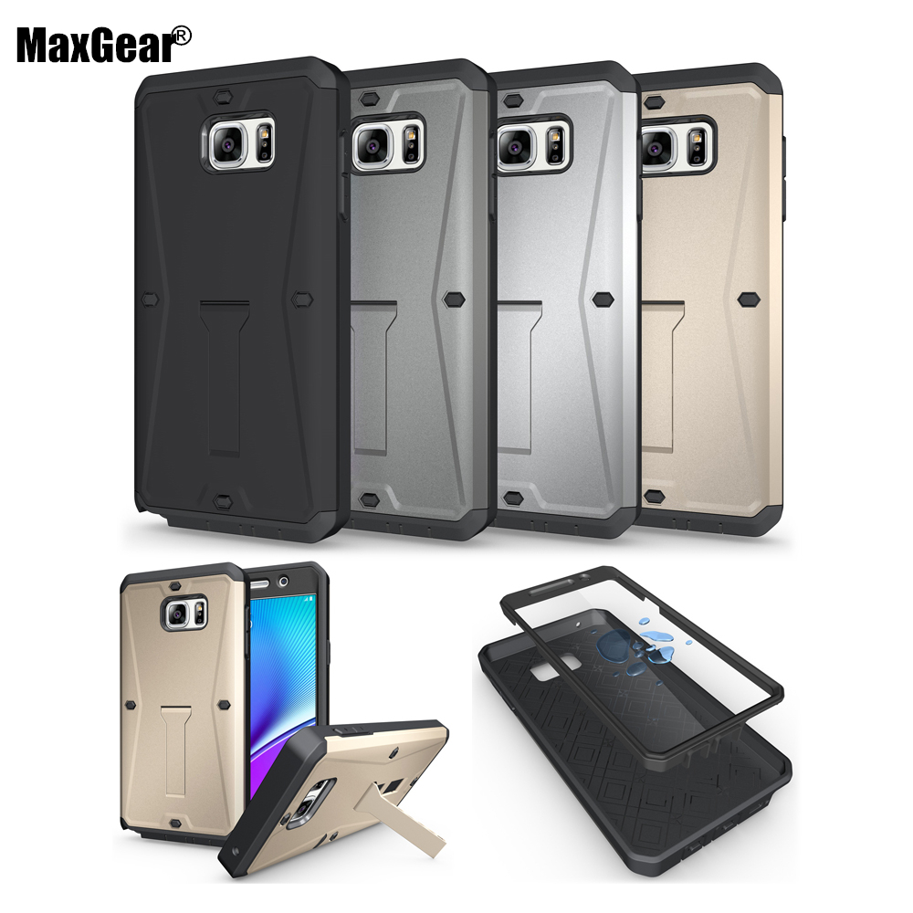 Heavy Duty Armor 3 in 1 plastic with silicon waterproof shockproof with Stand cover case for Samsung Galaxy Note 5 N9200 Note5