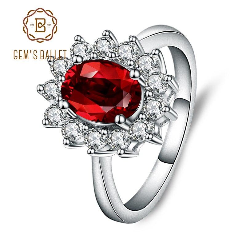 Gem's Ballet Princess Diana William Kate Middleton's 1.4ct Natural Garnet Engagement Genuine 925 Sterling Silver Ring For Women