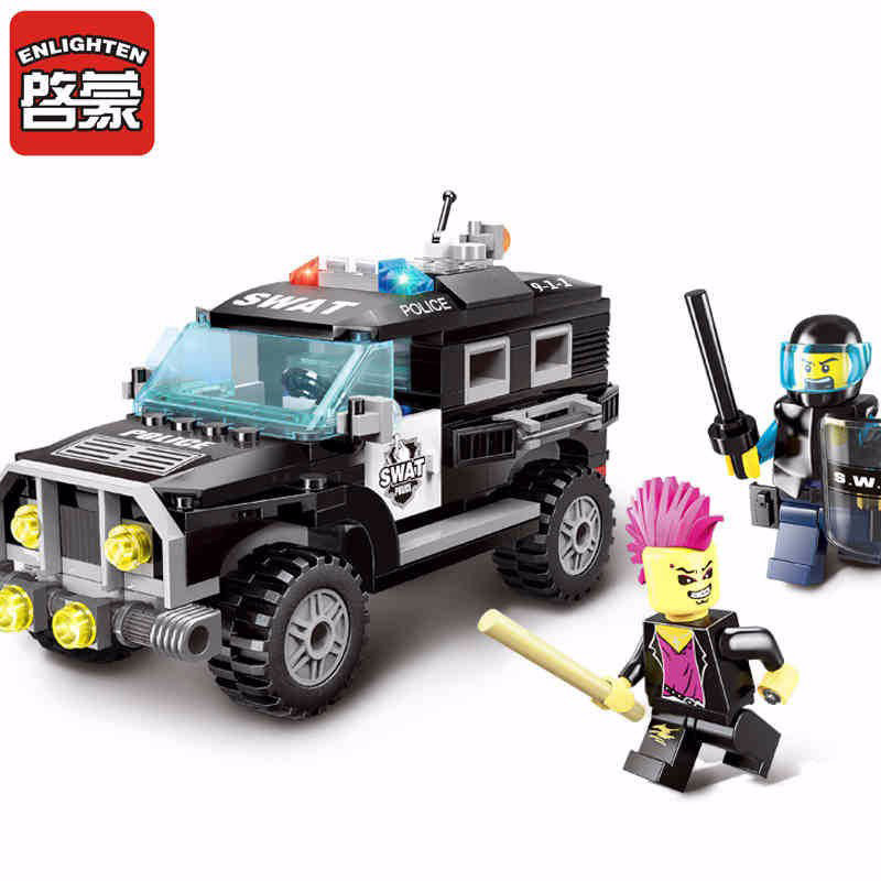1110 Enlighten City Series Police SWAT SUV Car Model Building Blocks Educational DIY Figure Toys For Children Compatible Legoe 1700 sluban city police speed ship patrol boat model building blocks enlighten action figure toys for children compatible legoe