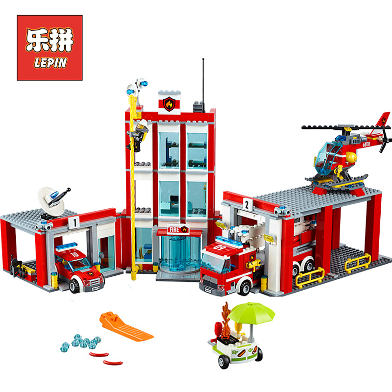 Lepin 02052 City Series the Fire Station Truck Rescue Vehicle 60110 Building Blocks Bricks Educational Boy Toy Christmas Gift lepin 02020 965pcs city series the new police station set children educational building blocks bricks toys model for gift 60141