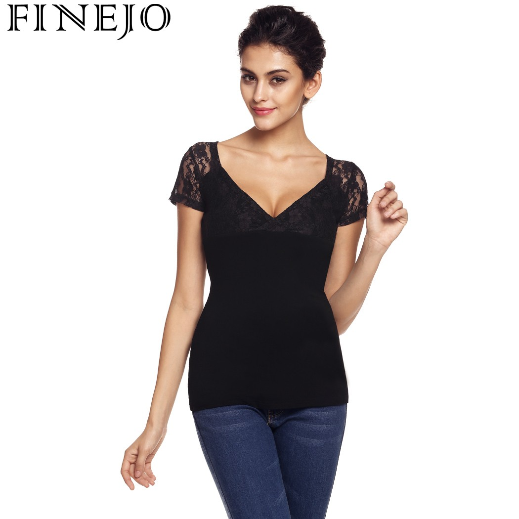 Finejo Women Sexy V Neck T Shirt Short Sleeve Lace