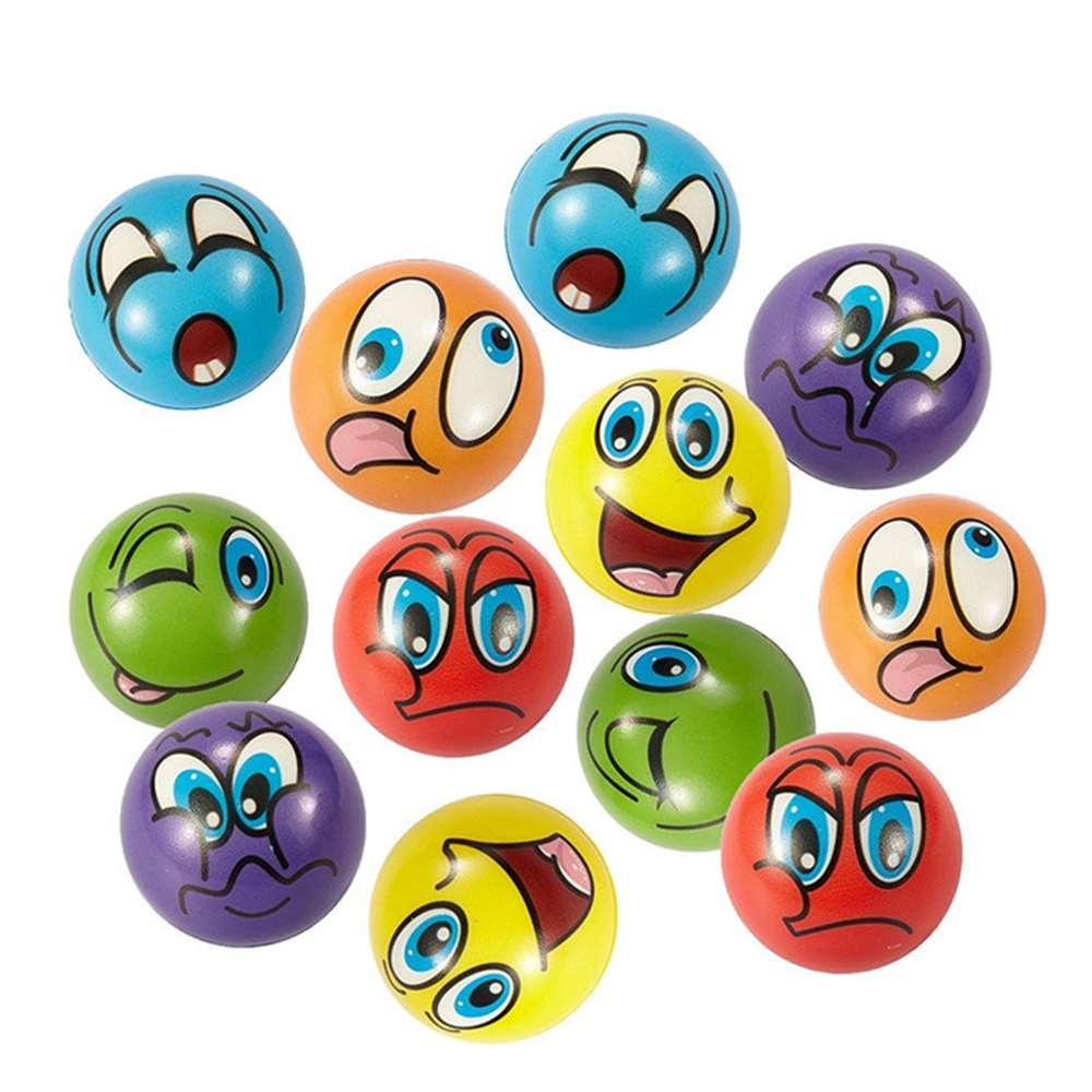 12Pcs Cute Face Emotion PU Foam Squeaky Squeeze Ball Kid Adult Stress Relief Toy