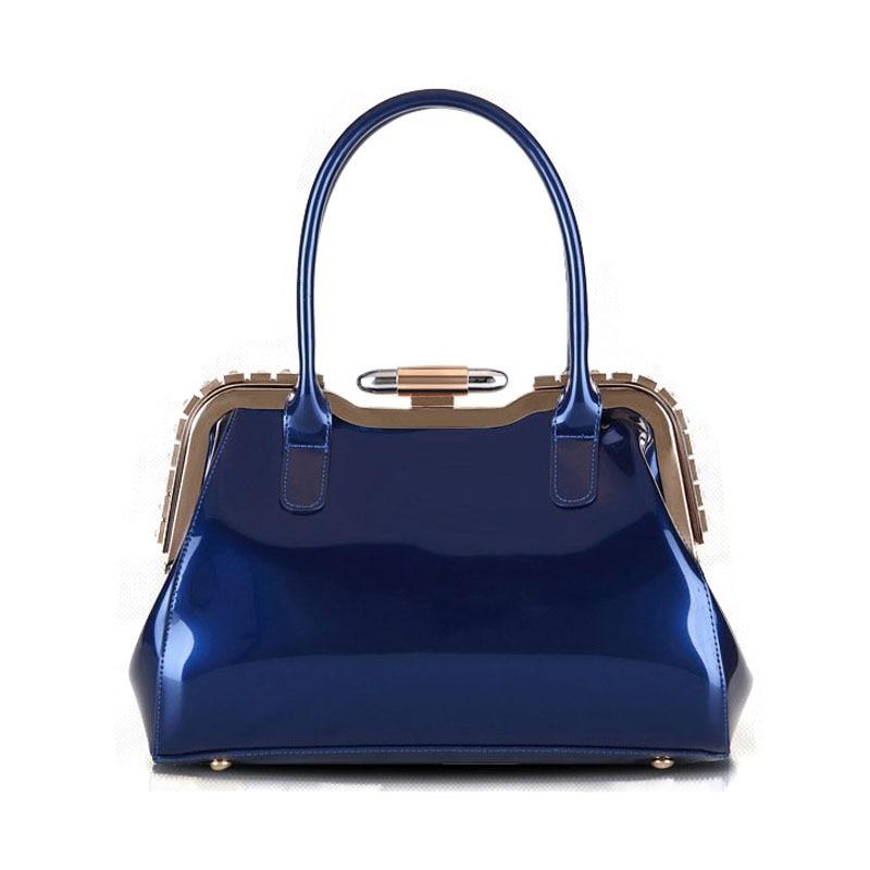 New 2018 Women Handbags PU Patent Leather Handbag Fashion Women Luxury Brand Frame Bags Famous Brand Handbag цена