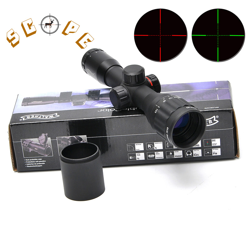 WALTHER 6X32 AOE Tactical Scope Riflescopes Optics Hunting Scope Red&Green Dot Illuminated Reticle Fiber Sight Riflescope walther silver tac