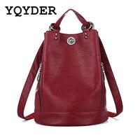 Fashion New Multifunction Women Backpack PU Leather Black Bagpack Large Capacity Travel Bag Female Rucksack Shoulder