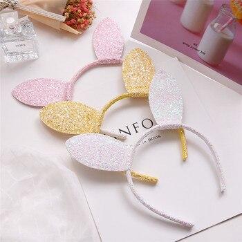 Lote de 10 unidades de diademas orejas conejo blanco con purpurina Rosa Hada diadema dura para fiesta de cumpleaños para niñas banda para la cabeza de Pascua amarilla