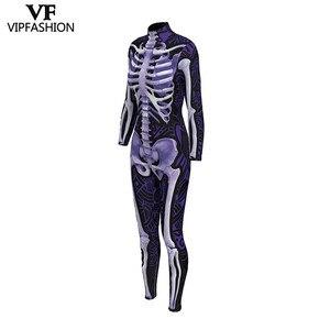 Image 3 - VIP di MODO di 2019 Nuovo Disegno Cosplay Tuta 3D Scheletro di Stampa Viola Body E Pagliaccetti Halloween Dress Up Costumi Per Le Donne Della Tuta