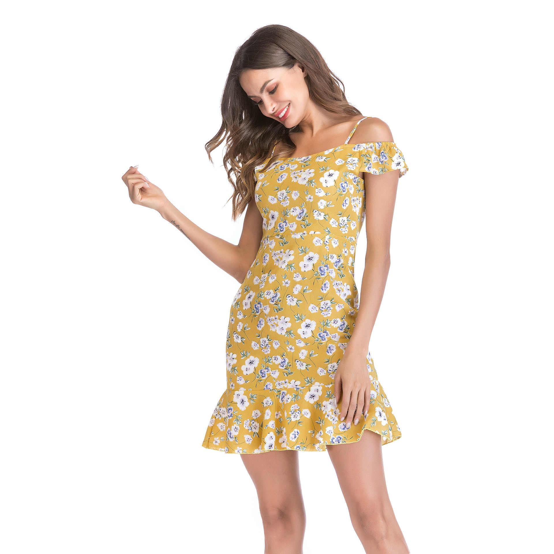 ドレスツイードボディコンドレス女性のための 2019 販売原宿ドレースボヘミアンプリント上記膝ミニナチュラルスラッシュネック夏ピンク新しい