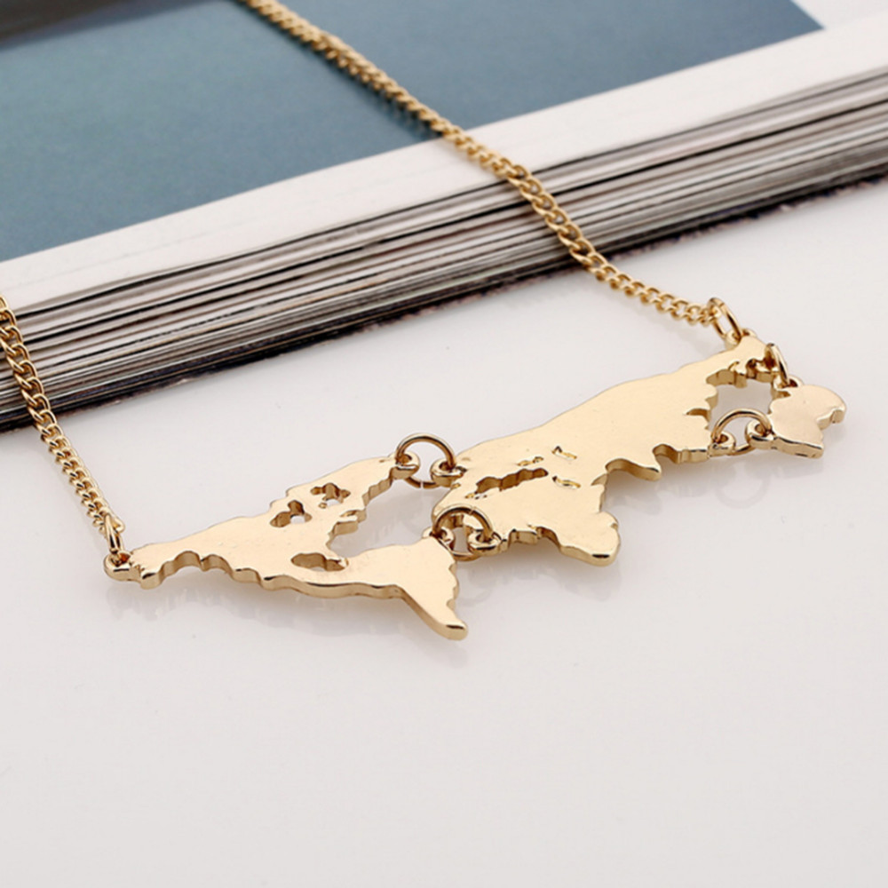 World map pendant necklaces men jewellery gold color jewelry world undefined gumiabroncs Image collections