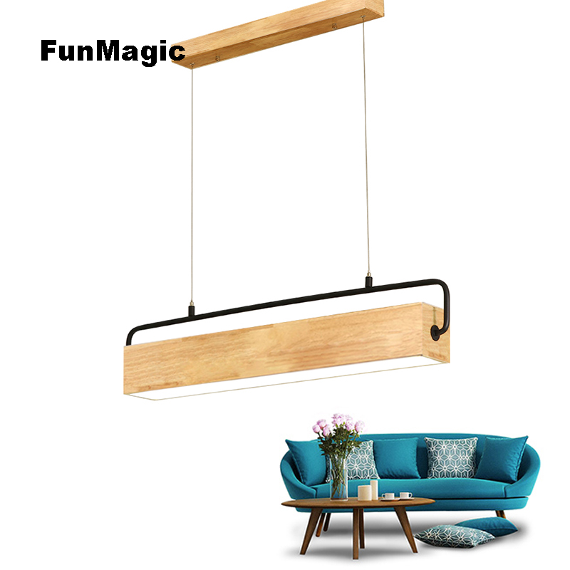 Nordic Post modern Solid Wood Long Pendant Light Japanese Style Dining Room Study Hanging Lighting Fixtures LED Lamp Droplight
