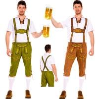 Man Oktoberfest Costumes Octoberfest Bavarian Beer Party Lederhosen and Top Adult Men Plus Size Good Quality
