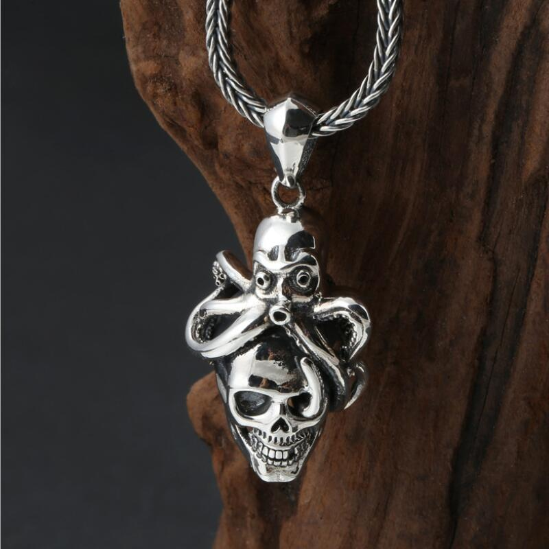 Nouveau 100% 925 collier crâne en argent pur collier pendentif poulpe en argent Sterling collier pendentif Skeletion