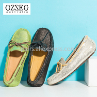 OZZEG Mild Luxury Women Shoes Brand Designer Shoes Genuine Leather Shoes Women Loafers Nonslip Comfortable Golden Girl Shoes