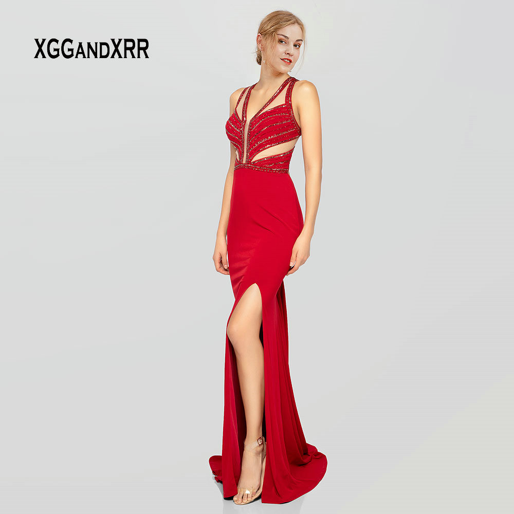Sexy Long Mermaid   Evening     Dress   2019 Red Prom   Dress   V Neck Spaghetti Side Slit Backless Luxury Gala   Dress   Sparkling Beading Gown