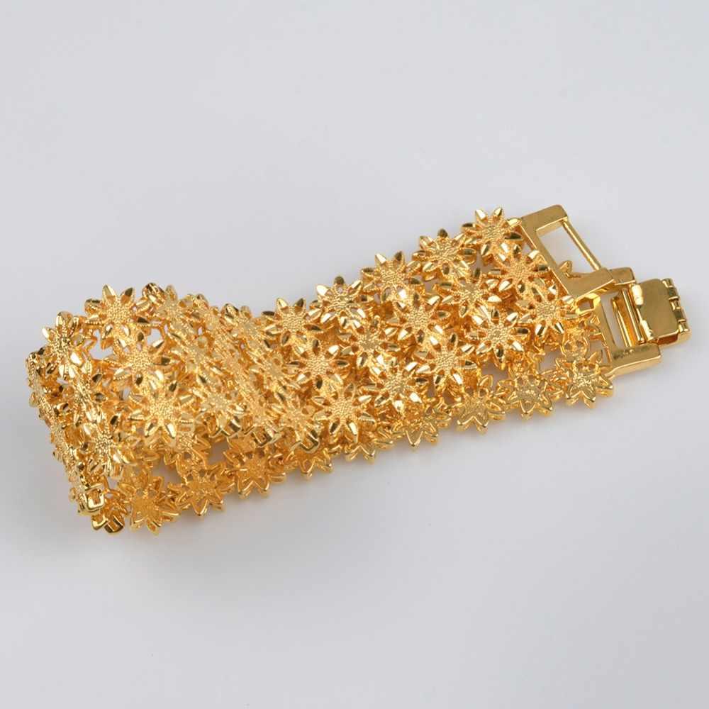 Anniyo 21 cm/szerokość bransoletka dla kobiet/mężczyzn złoty kolor i miedź etiopski biżuteria afryki bransoletka emiraty ślub prezenty #072506