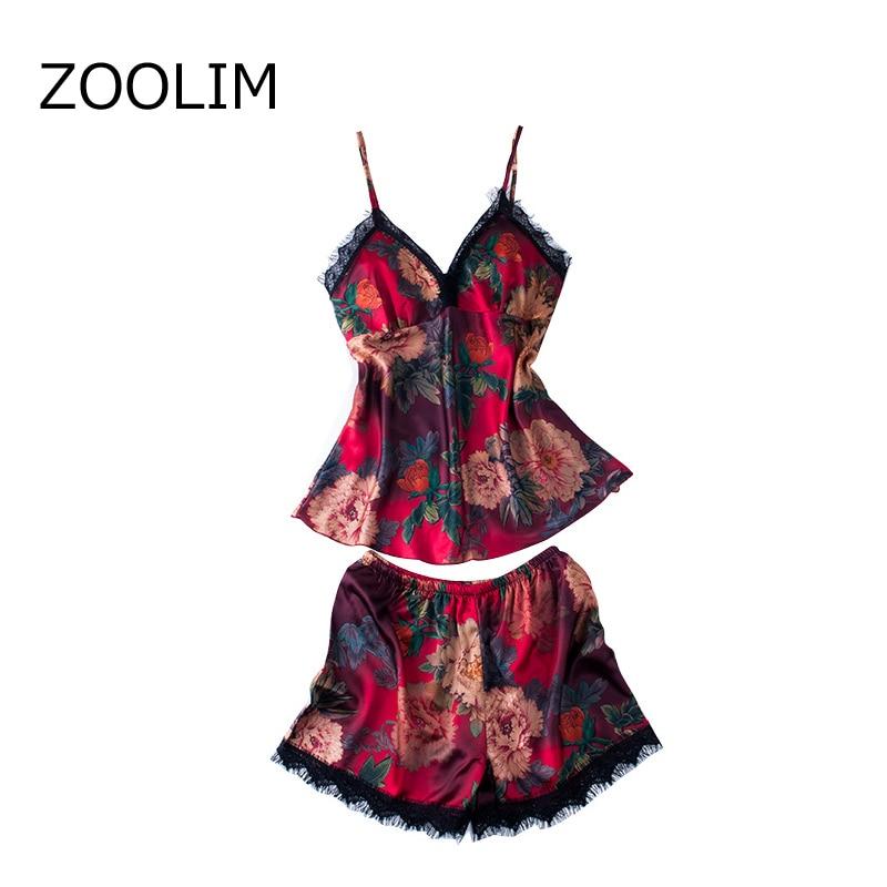 ZOOLIM Sleep Lounge Women Pajama Set Sexy Satin Sleepwear Pijama with Shorts Pyjama Femme Flower Pajamas with Chest Pads