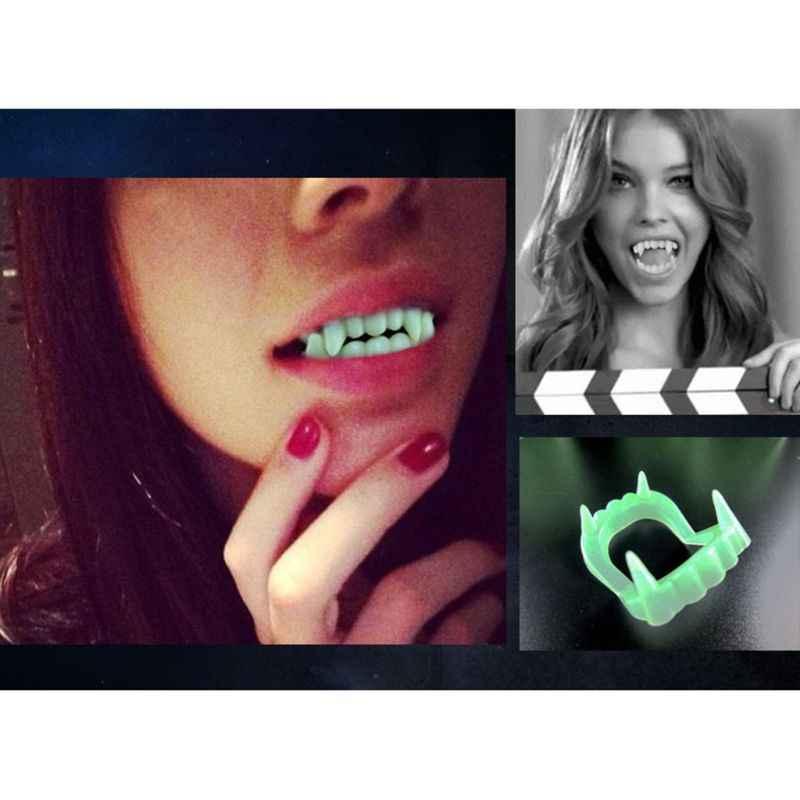 Brillan en la oscuridad colmillos de vampiro dientes de plástico accesorio fiesta favores Y51E