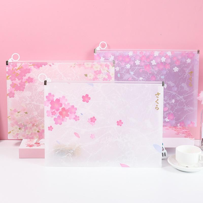PP Cute Cherry Texture Blossoms Transparent Waterproof Document File Folder Plastic Folder School Office Supplies Stationery