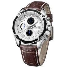 MEGIR Top Brand Quartz Men Watches Fashion Genuine Leather Chronograph Watch Clock Male Wristwatch Reloj Hombre 2015