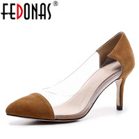 FEDONAS Women Genuine Leather Pumps 2018 Transparent 7cm High Heels Sexy Pointed Toe Slip on Wedding Party Shoes For Lady