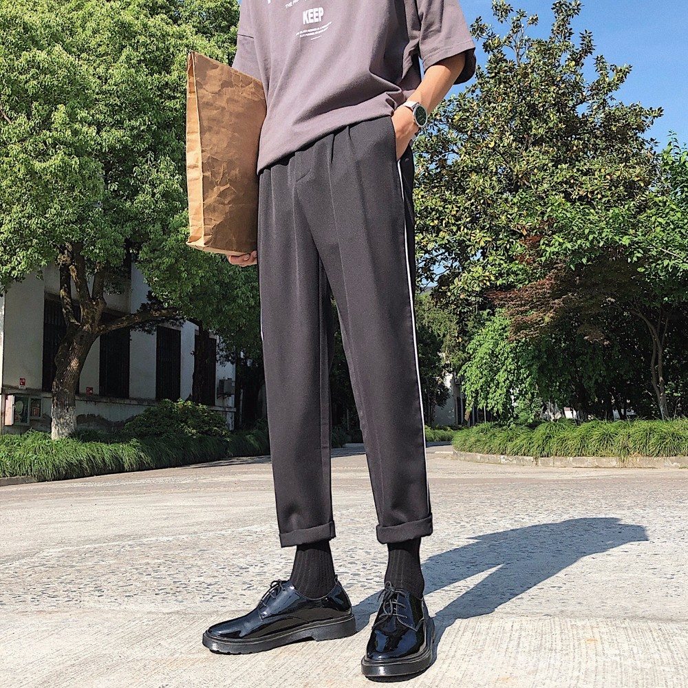 2018 Summer Western-style Mens Youth Casual Suit Pants Striped Fashion Tide Loose Black/Gray Color Trousers Plus Size M-2XL ...
