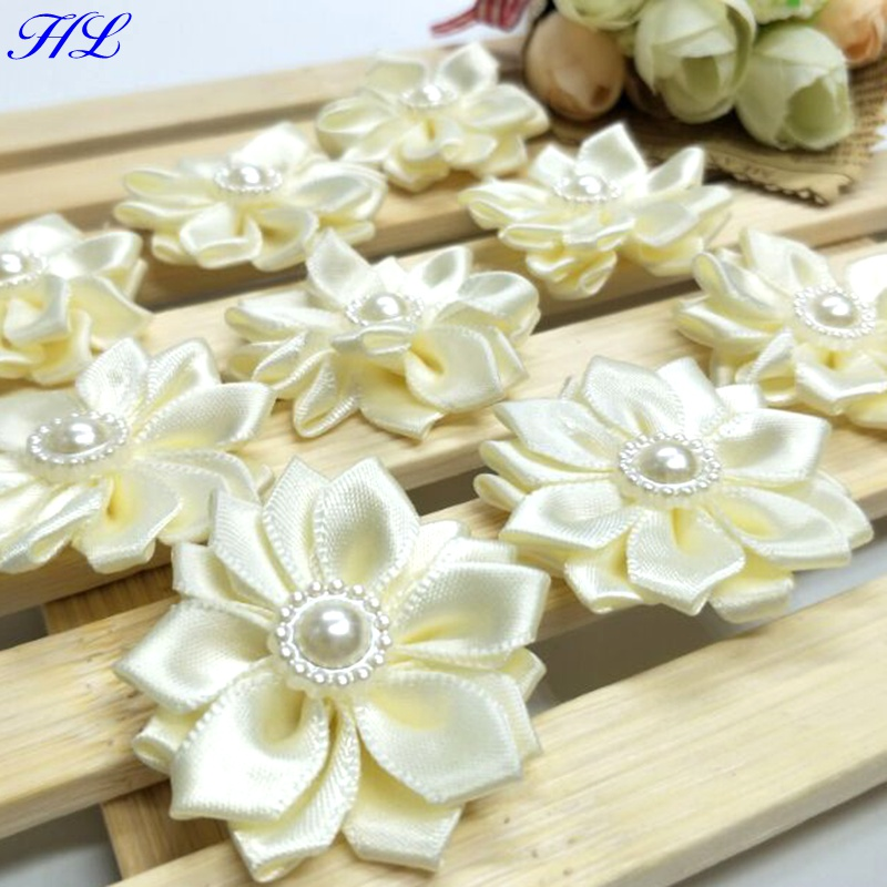 Hl 20pcs 35mm Beige Ribbon Pearl Flower Handmade Flowers Wedding