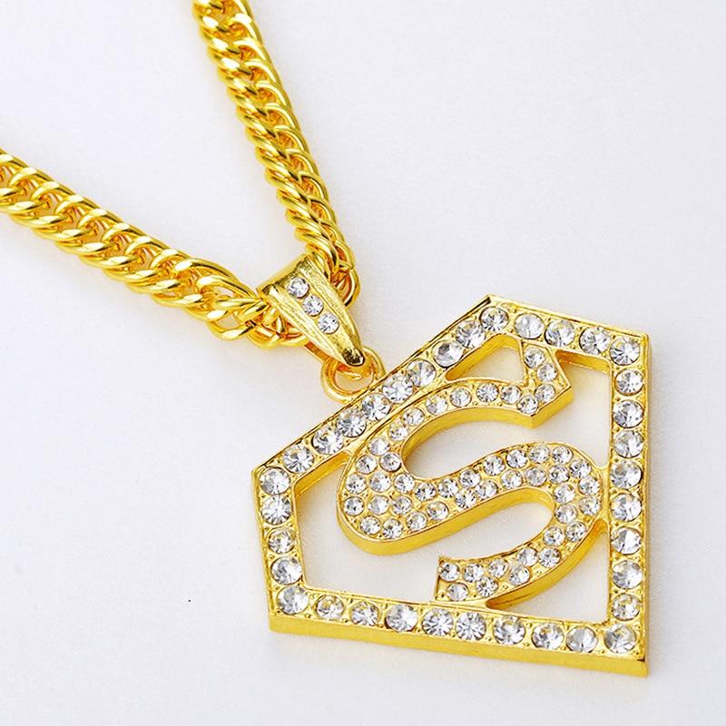 Gold plated simulated diamond superman pendants gift jewelry 315 superman diamond pendant mozeypictures Gallery