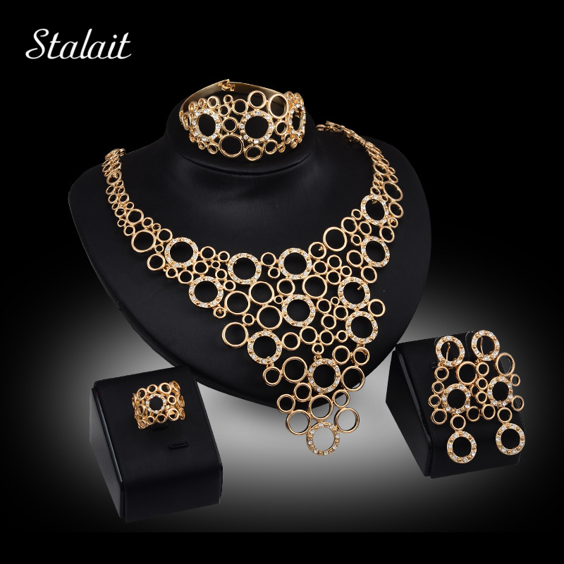 African Beads Statement Necklaces Big Pendants Gold Color Fine Jewellery Sets for Women Wedding Bridal Party