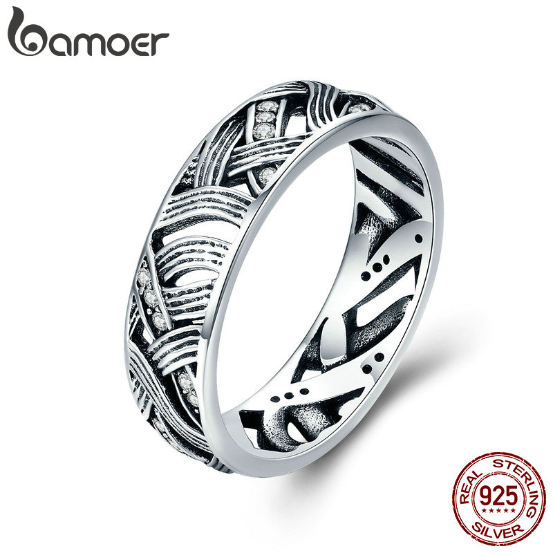 цены BAMOER Authentic 925 Sterling Silver Vintage Stackable Retro Wave Finger Rings for Women Sterling Silver Jewelry Anel SCR253