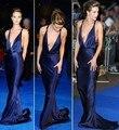 Projeto Sexy Azul Navy Satin Halter Pescoço Vestidos Open Back Trem Da Varredura Da Sereia Da Celebridade Vestidos 2017 do baile de Finalistas Vestido Do Tapete Vermelho
